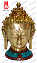 Buddha Head with Stones Work Statue