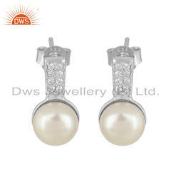 White Rhodium Plated Silver CZ Pearl Gemstone Stud Earrings Jewelry