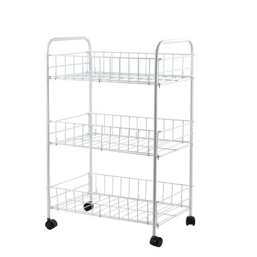 3 TIER FRUIT VEGETABLE RACK STORAGE STAND WITH WHEELS CART WHITE TROLLEY KITCHEN