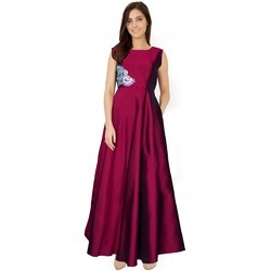 Multicolor Sleevless Wedding Long Gown