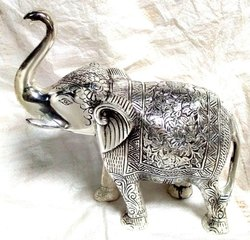 Silver Aluminium Elephant Statue, for Interior Decor