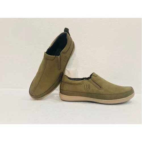 Leather Mens Green Casual Shoes, Size