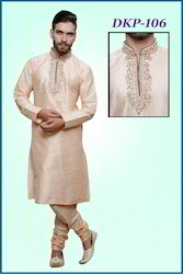 Eid Embroidered Beige Kurta Pyjamas