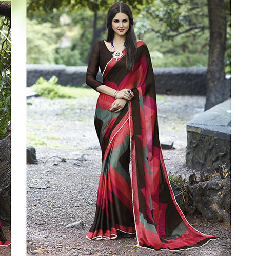 e1c2f681d0 Satin Silk Printed Sarees With Blouse Piece, Rs 840 /piece | ID ...