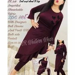 Plain Blended 2 Piece Set Bell Sleeves Imported Stretchble With Pant Western Wear