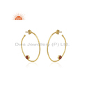 Natural Red Onyx Gemstone Silver Gold Plated Hoop Earrings Jewelry