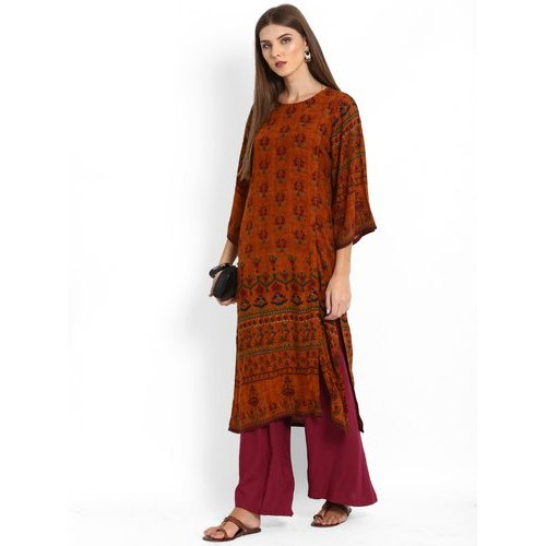 Maroon Rayon Ladies Kurta With Palazzo