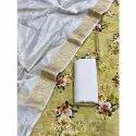 Silk Unstitched Ladies Printed Casual Suit, Dry Clean
