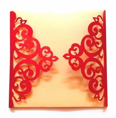 paper laser cut wedding invitation  wco0006 size 6x6