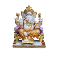 White Marble Painted Ganesh Statue