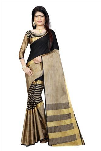 b921200952 Zari Work Multicolor Poly Cotton Traditional Saree With Blouse, Rs ...