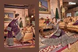 Agarwal Fashion Violet And Grey Bridal Salwar Kameez
