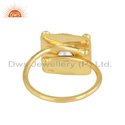 Natural White Pearl Gemstone Gold Plated Designer Silver Ring Jewelry