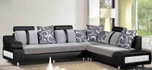 Open Furnitures Black And Gray L Shape Sofa, Back Style: Pillow Back, 4 Years