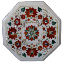 White Marble Mosaic Coffee Marquetry Table Top