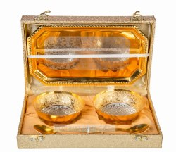 Gold Round Bowl Set with Tray and 2 Spoon Full Brass with Golden Box (Set of 5 Pieces)