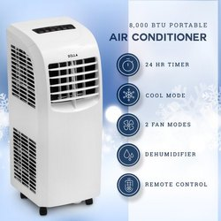 White 8000 BTU Portable Air Conditioner, Capacity: 1 Ton