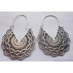 Handmade Spiral Silver Plated Brass Earrings