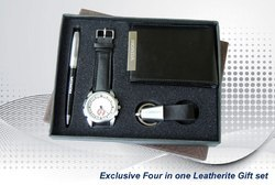 Black Four in One Leather Gift Set