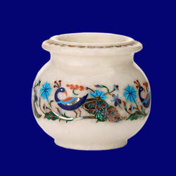 Marble Flower Peacock Design Pot