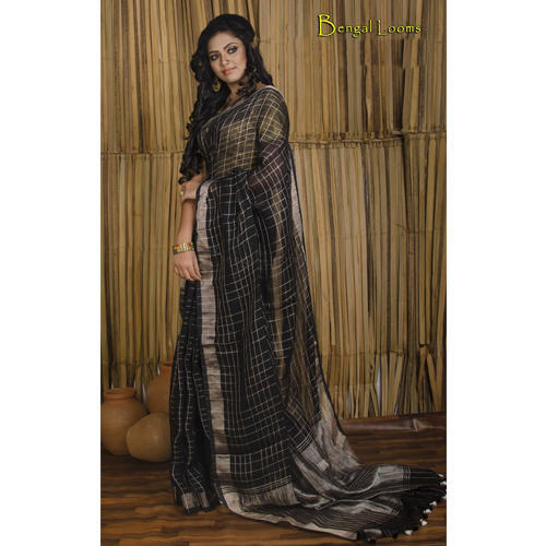 bbc1da2c5 Pure Handloom Khadi Linen Saree with Zari Checks all over the body in Black  and Antique