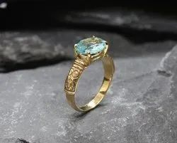 Flower Texture Aquamarine Gold Plated Silver Ring