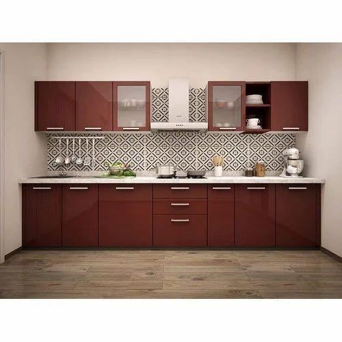 Residential Acrylic Straight Modular Kitchen, Warranty: 1 ...