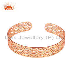 14k Rose Gold Plated Silver Filigree Designer Cuff Bracelet Jewelry
