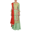 Woman Mint Green & Red Georgette Embroidered Suit