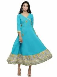 Yash Gallery Women's Cotton Blend Kalamkari Print Kantha Work Anarkali Kurta