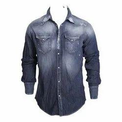 Regular Fit Faded Mens Deigner Denim Shirt, Size: M-XXL