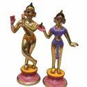 Multicolor Brass Radha Krishna Statue