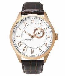 Brown Round Timex Multi Function Watch