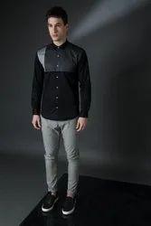 Designer Black Full Sleeve Men Casual Cotton Satin Shirt