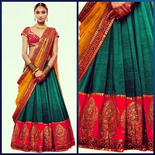 Semi-Stitched Jacquard Ladies Party Wear Designer Lehenga, 2.5 M, Dupatta Fabric: Net