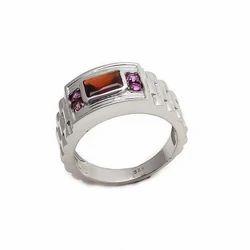 Smoky Topaz & Amethyst Natural Handmade Beautiful 925 Sterling Silver Fashionable Mens Ring