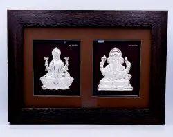 Silver Ganesh Laxmi Frame