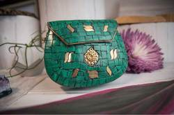 Green and Golden Mosaic Metal Clutches