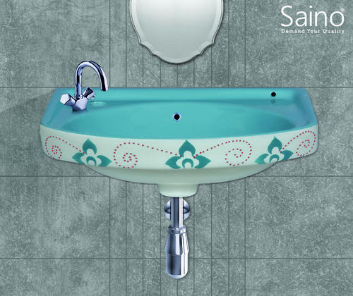 Ceramic Blue And Aqua Green Vitrosa 18x12 Wash Basin Shape Oval