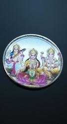20 Gm. Coloured Laxmi Ganesh Saraswati Silver Coin