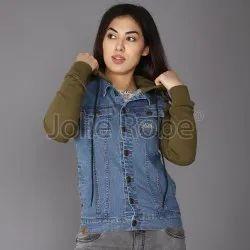 Hooded Custom Women Denim Jacket With Fleece Sleeves And Hood