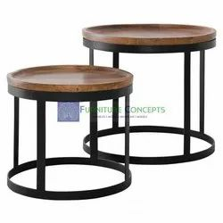 Iron Industrial Mango Wood Side End Tables Set Of 2 For Living Room Furniture