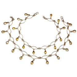 Handmade Citrin 925 Sterling Silver Anklet, Weight: 20 To 30 Gram, 11 Inches