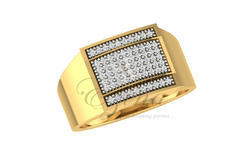 CDL Fineshine Yellow Gold Natural Diamond Ring for Men's, Packaging Type: Box