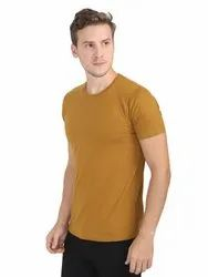 Mens Mustard Yellow Round Neck T Shirts