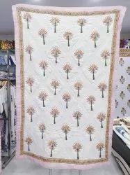 Handmade Cotton Jaipuri Quilt Block Printed Cotton Blanket Trow