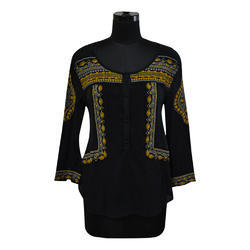 Cotton Black Full Sleeve Boho Embroidery Knit Blouse