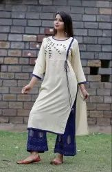 Reyon Blue Kurti and Palazzo Set