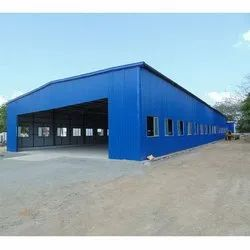 Blue Pre Fabricated MS Industrial Structures Shed