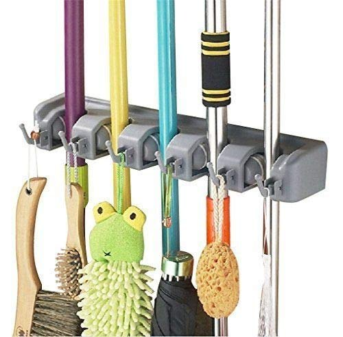Multi-Function Broom Rack Simple Mop and Broom Rack Rubber Clip Wall-Mounted Broom Rack Color : Green Used for Bathroom Kitchen Closet Placement Family Storage